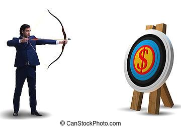 ビジネスマン, 狙いを定める, 矢, 弓