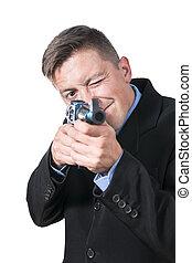 ビジネスマン, 狙いを定める, 銃