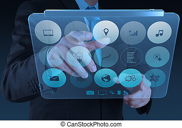 ビジネスマン, 現代 技術, 仕事, 手