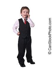 ビジネスマン, 男の子, 電話