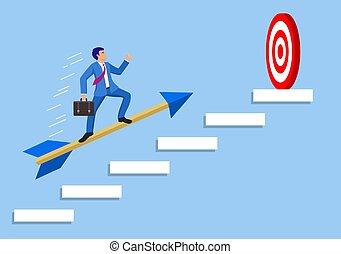 ビジネスマン, 矢, ターゲット, 目標