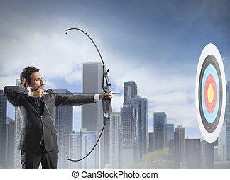 ビジネスマン, 矢, 弓