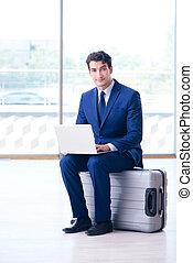 ビジネスマン, 空港, 彼の, 飛行, 待つこと