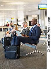 ビジネスマン, 空港, 飛行, 待つこと, アフリカ