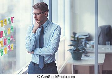 ビジネスマン, 窓, 若い