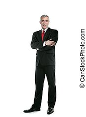 ビジネスマン, 立ちなさい, ポーズを取る, 長さ, タイ, 完全な スーツ