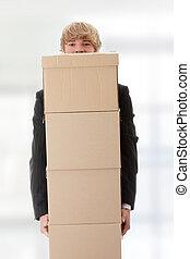 ビジネスマン, 箱, 積み重ねられた