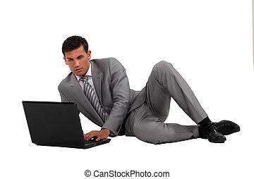 ビジネスマン, 簀の目紙, ノート, 床