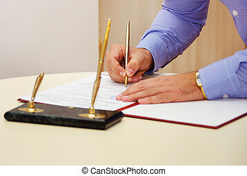 ビジネスマン, 署名, document.