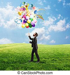 ビジネスマン, 考え, カラフルである, 創造的
