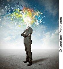 ビジネスマン, 考え, 創造的
