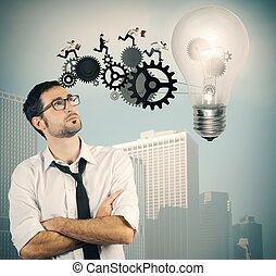 ビジネスマン, 考え, 大きい, 力強く進む