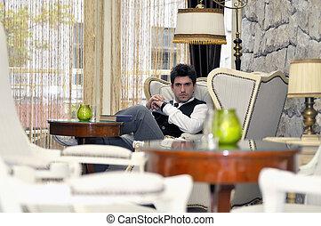 ビジネスマン, 肖像画, 幸せ, 屋内, 若い