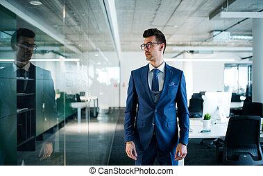 ビジネスマン, 肖像画, 若い, 地位, オフィス。