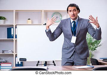ビジネスマン, 若い, 板, 前部, 白, 地位
