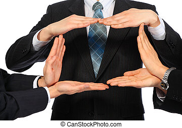 ビジネスマン, 表しなさい, 長方形, から, 手