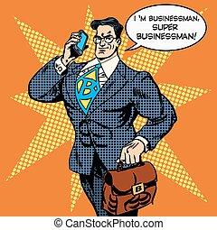 ビジネスマン, 要求に答える, 極度, 電話