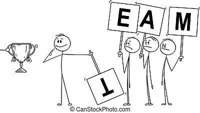 ビジネスマン, 要求, 利点, ∥あるいは∥, ベクトル, チーム, instead, 貢献, そっくりそのまま,...