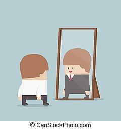 ビジネスマン, 見なさい、, 彼の, 成功した, 未来, 中に, ∥, 鏡