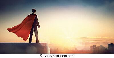 ビジネスマン, 見る, 都市, superhero