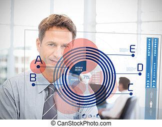 ビジネスマン, ∥見る∥, 青, 図, インターフェイス