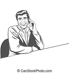 ビジネスマン, 話すこと, 電話