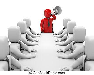 ビジネスマン, 話す, 中に, megaphone., リーダーシップ
