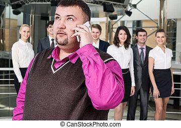 ビジネスマン, 話す, 電話