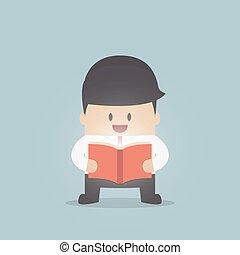 ビジネスマン, 読む本, 照ること
