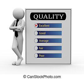 ビジネスマン, 調査, 品質, 3d