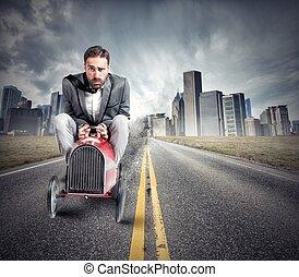 ビジネスマン, 運転, 速い, 自動車