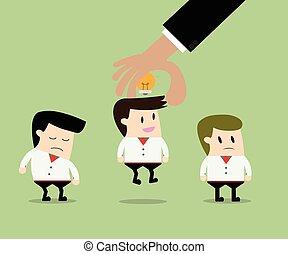 ビジネスマン, 選択, 労働者, から, 人々のグループ, ∥で∥, 考え