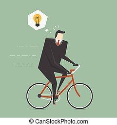 ビジネスマン, 間, サイクリング, 考え, 得なさい