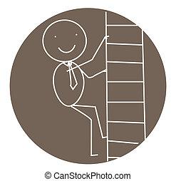 ビジネスマン, 階段, 成功
