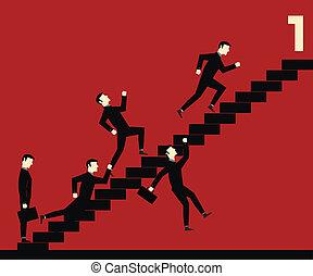 ビジネスマン, 階段, 競争