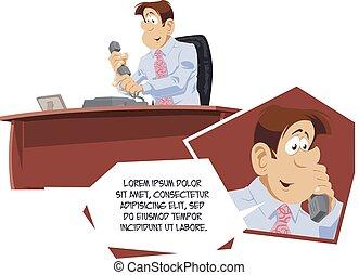 ビジネスマン, 電話。, 人々。, 面白い