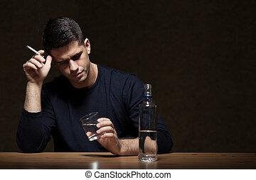ビジネスマン, 飲むこと, 仕事, アルコール, 後で