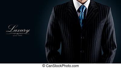 ビジネスマン, 黒, 贅沢, スーツ