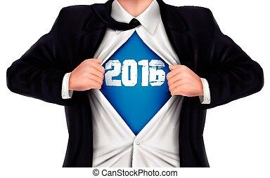 ビジネスマン, 2016, ワイシャツ, 提示, 彼の, 下に