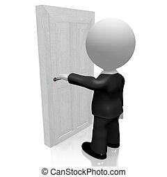 ビジネスマン, 3d, ドア, 開始