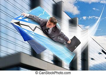 ビジネスマン, airpaper, 飛行, 飛行機