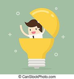 ビジネスマン, bulb., ライト