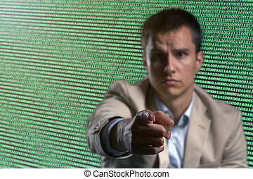 ビジネスマン, cyber, セキュリティー, ネットワーク, 概念