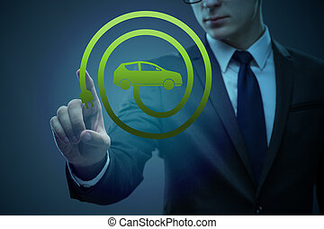 ビジネスマン, electic, 概念, 車