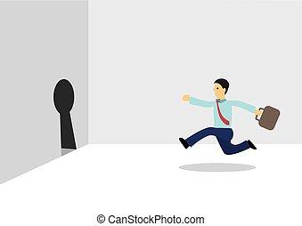 ビジネスマン, escape., setting., 概念, ゴール, 自由, ∥に向かって∥, 動くこと, 鍵穴