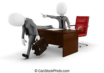ビジネスマン, -fired!, 3d, 人