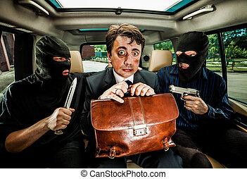 ビジネスマン, hostages., つかまれる