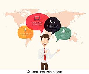 ビジネスマン, infographic, スピーチ泡