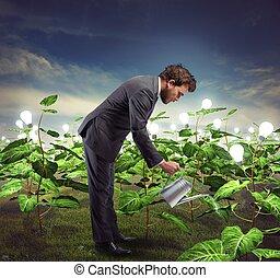 ビジネスマン, nurtures, 考え, 新しい