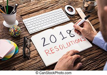 ビジネスマン, resolutions, ノート, 2018, 執筆